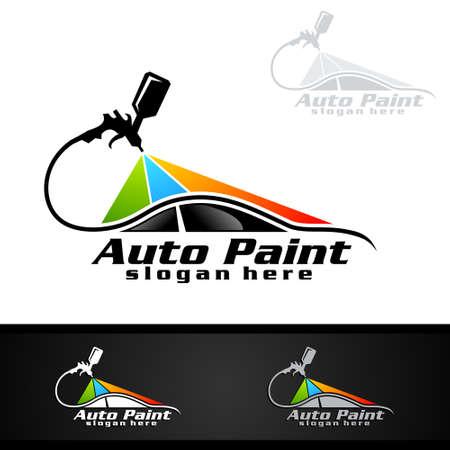 Ilustración de Car Painting Logo with Spray Gun and Sport Car Concept - Imagen libre de derechos