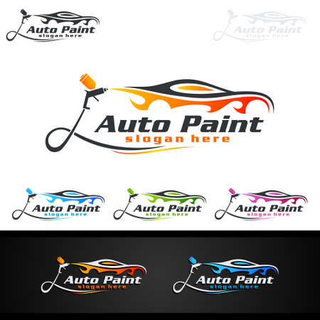Illustration for Car Painting Logo with Spray Gun and Sport Car Concept - Royalty Free Image