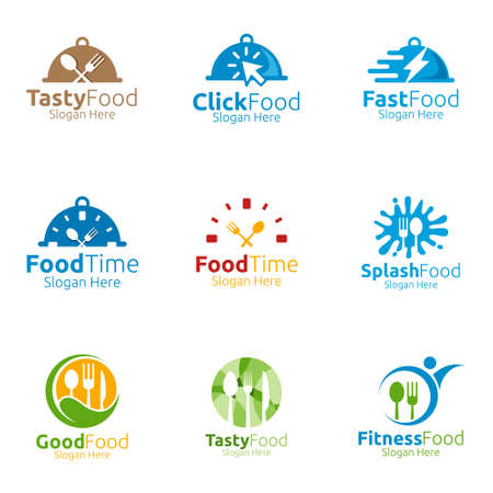 Illustration for Healthy Food Logo Template. Organic Vector Design.for Menu Restaurant or Cafe, Fork, Spoon and leaves Concept - Royalty Free Image