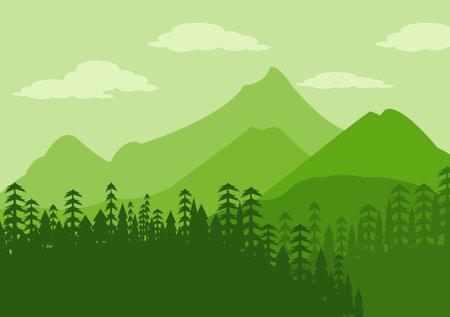 Illustration pour Desert Landscape with Cactus, Hills and Mountains Silhouettes. Vector Nature Horizontal Background Design - image libre de droit