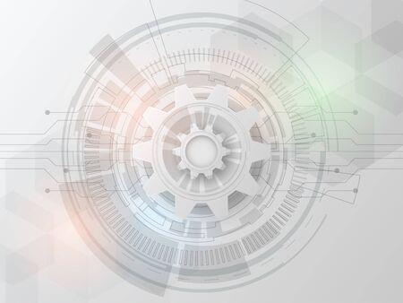 Photo pour Futuristic technology design 3d white paper gear wheel on circuit board. - image libre de droit