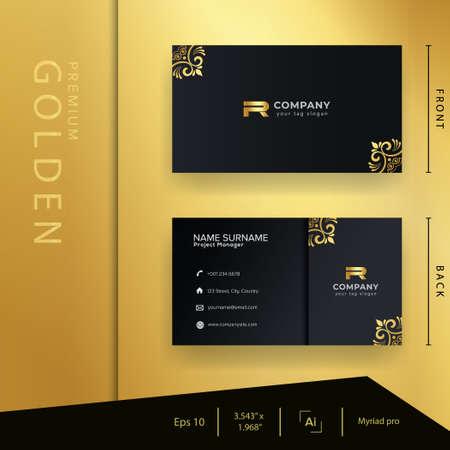 Illustration pour Modern black golden business card with luxury style and elegant template - image libre de droit
