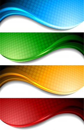 Set of wavy banners with circles