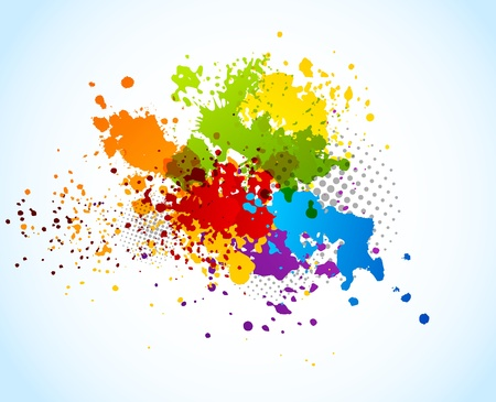Bright grunge background with splashes of paint