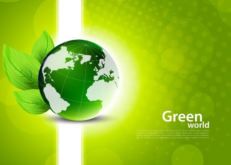 Green background with globe and leaves