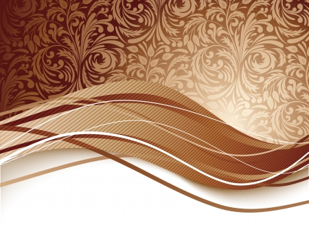 Floral background in brown color  Chocolate illustration