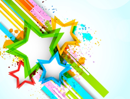 Bright background with colorful stars. Abstract illustrtaion