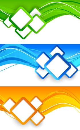 Illustration pour Set of banners with squares  Abstract illustration - image libre de droit