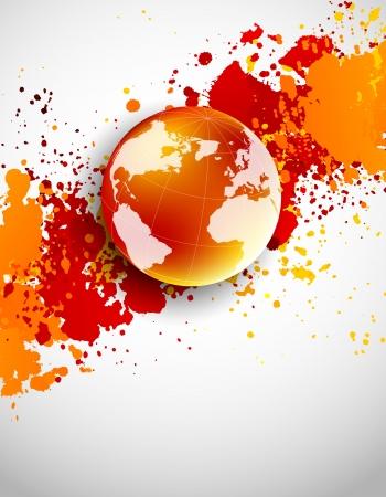 Foto de Abstract grunge background with globe in orange color - Imagen libre de derechos