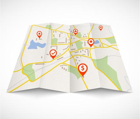 Illustration pour Navigation map with red pins - image libre de droit