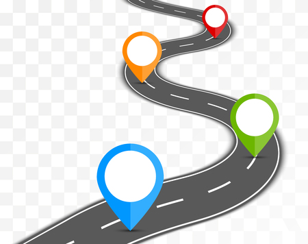 Road path on transparent background with pin pointer illustration