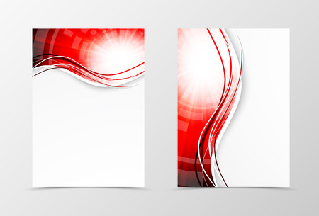 Illustration for Front and back wavy flyer template design. Abstract template with red lines in digital swirl style. Vector illustration - Royalty Free Image
