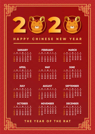 Illustration pour Chinese new year calendar 2020. Calender design. Year of the rat, red, gold and black colors. Concept with Illustrations of asian holidays. Week starts on Sunday. Template of calendar. Vector. - image libre de droit