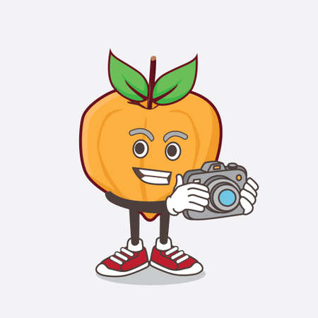 Illustration pour An illustration of Eggfruit cartoon mascot character as photographer in action with a camera - image libre de droit