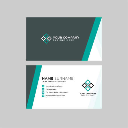 Illustration for Professional two sided business card vector template with logo place holder, name, address, phone number, website and email - Royalty Free Image