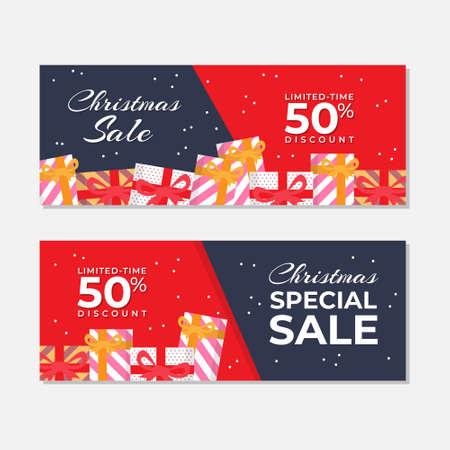 Illustration pour Red Christmas Sale Banner Vector Template - image libre de droit
