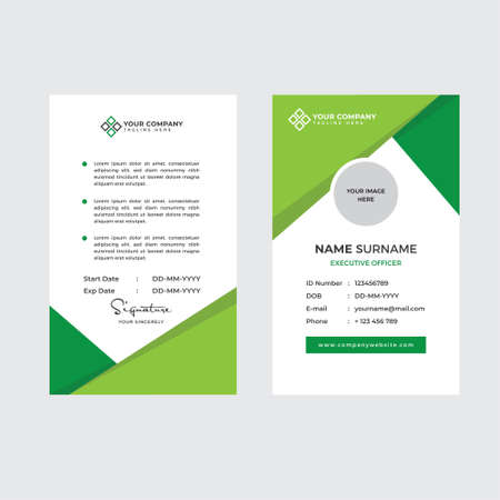 Illustration pour Premium Employee ID Card with Photo Placeholder, Name, Position and Company Profile Template Vector - image libre de droit