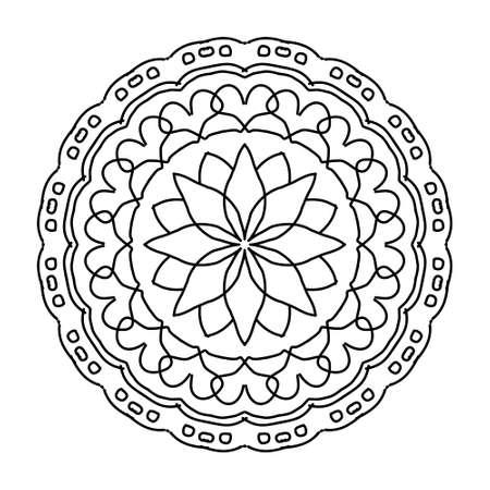 Illustration pour Mandala colorful vintage art, ancient Indian vedic background design, old painting texture with multiple mathematical shape. Sacred symbol - image libre de droit
