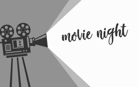 Illustration for Movie night banner with vintage camera. Monochrome design. Vector illustration. - Royalty Free Image