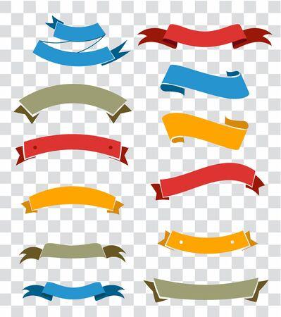 Illustration pour Ribbon elements set isolated on transparent background. Starburst label. Vintage. Modern simple ribbons collection. Vector illustration. - image libre de droit