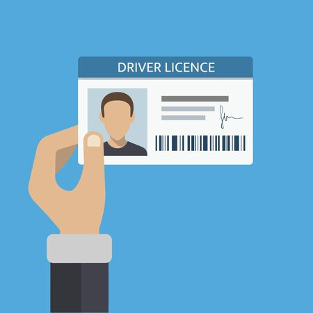 Illustration pour Driver license card in hand. ID number and photo included. Vector illustration - image libre de droit