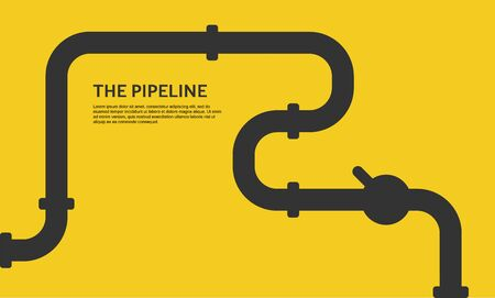 Illustration pour Industrial background with yellow pipeline. Oil, water or gas pipeline with fittings and valves. Web banner template. - image libre de droit