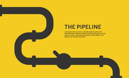 Web banner template. Industrial background with yellow pipeline. Oil or gas pipeline. Vector illustration