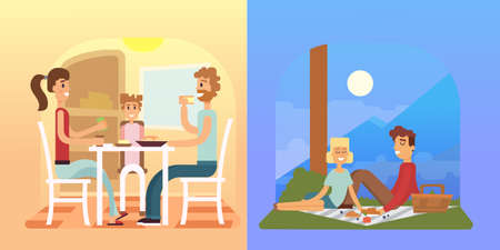 Family Holiday Cartoon Concepts Mom Dad Son Daughter At Dinner Royalty Free Vector Graphics