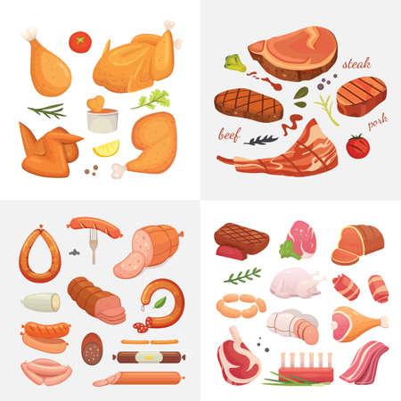 Vektor für Different kind of meat food icons set vector. Raw ham, set grill chiken, piece of pork, meatloaf, whole leg, beef and sausages - Lizenzfreies Bild