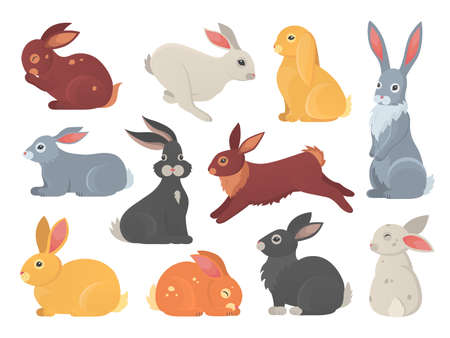 Illustration pour Vector set of cute rabbits in cartoon style. Bunny pet silhouette in different poses. Hare and rabbit colorful animals collection - image libre de droit