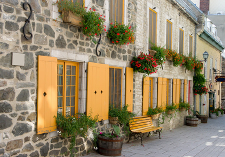 Street in a Staging Area with Bench, Flowerpot, typical of Old Quebec city