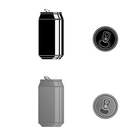 Aluminum can. Metal can. Vector illustration