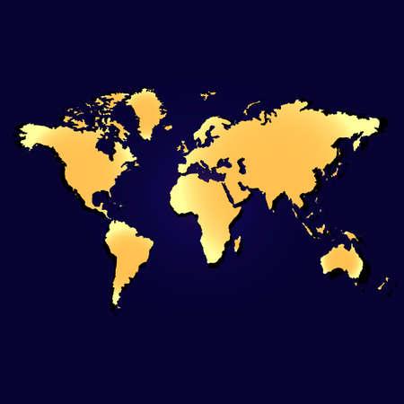 Illustration pour Map of the planet earth. Continents and oceans. Golden color. Vector illustration - image libre de droit