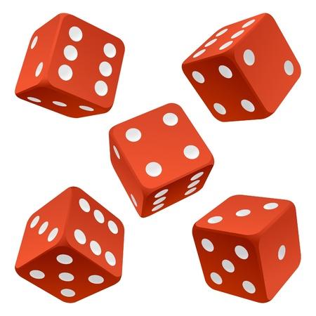 Red rolling dice set. Vector icon Vector rolling white dice set on white background of cards colour