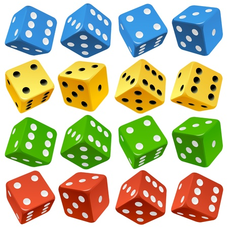 Game dice set  Vector red, yellow, green and blue icons