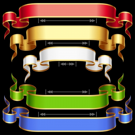 Ribbon set with adjusting length  Vector red, golden, blue, green and white frame isolated on background