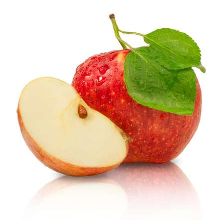 Photo for Ripe juicy red apple isolated on white background. Fresh fruit food. - Royalty Free Image