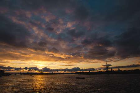 Sunset on Neva river