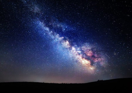 Milky Way. Beautiful summer night sky with stars in Crimea.