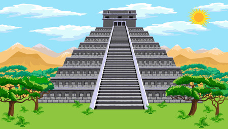 Natural landscape with the ancient aztec pyramid