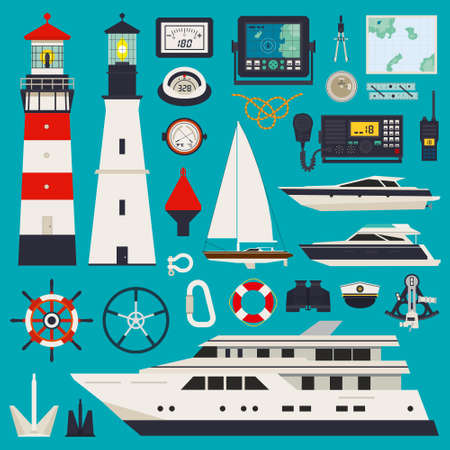 Marine equipment infographic including rope brush