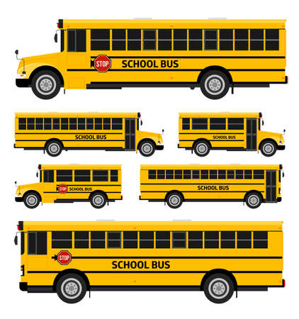 Illustration for Flat vector school buses in two sides view - Royalty Free Image