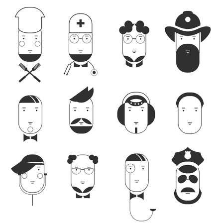 Creative flat icons of people professions. Faces of all main occupations. Isolated vector illustration