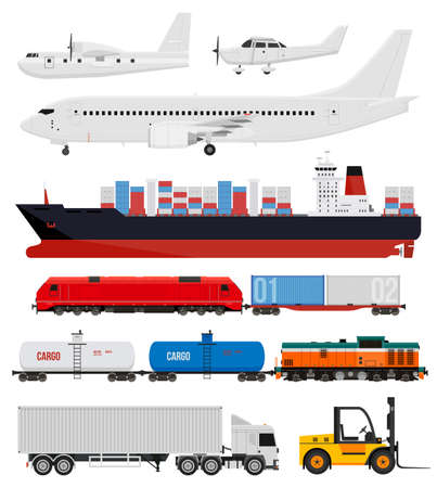 Cargo transportation by train, trucks, ships and airplanes. Flat style icons and illustration.