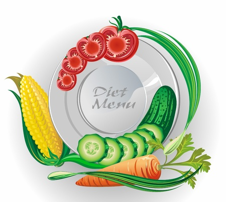 White plate with vegetables