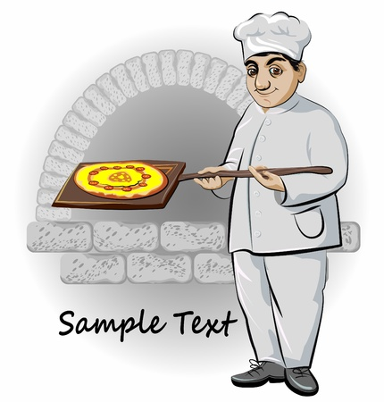 cook with pizza an oven on background