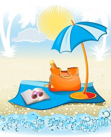 seaside summer holiday background with palm, umbrella, sunglasses