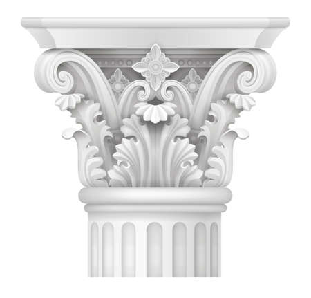 White Capital of the Corinthian column, Classical architectural support Vector graphics