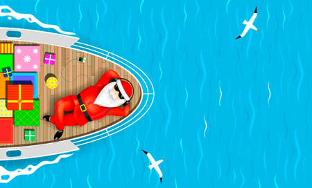 Ilustración de Santa Claus is swimming on a yacht lying on the deck with a bunch of gift boxes. Sea waves and seagulls around. Vector graphics. - Imagen libre de derechos