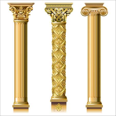 Illustration pour Set of classic gold columns in different styles - image libre de droit